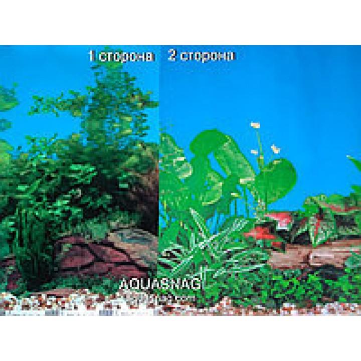 Фон двусторонний. 9051 Растения градиент синий - 9011 Растения фитония голубой Высота 60см.