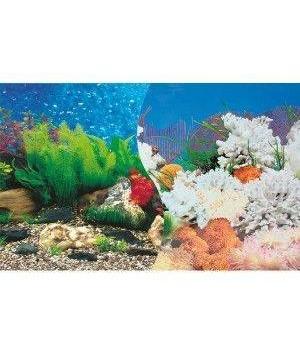 Фон 9019/9029 двусторонний  100 см (Растения пузырьки голубой/Кораллы голубой)