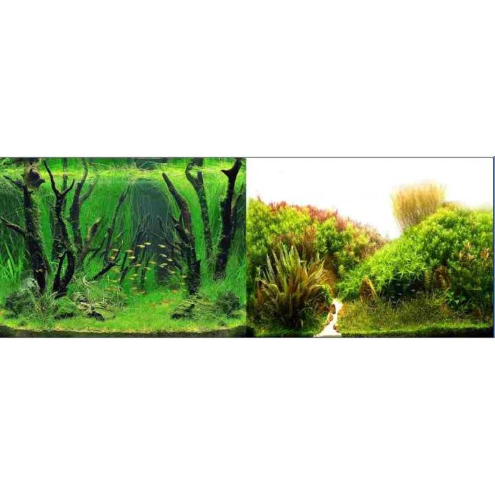 Фон двусторонний. 9084Растения с корягами зеленый - 9085Холмы из растений белый Высота 50см.
