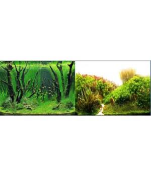 Фон двусторонний. 9084Растения с корягами зеленый - 9085Холмы из растений белый Высота 60см.