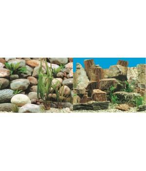 Фон для аквариума двухсторонний Каменная терасса/Каменный рельеф 60x150см 9023/9025