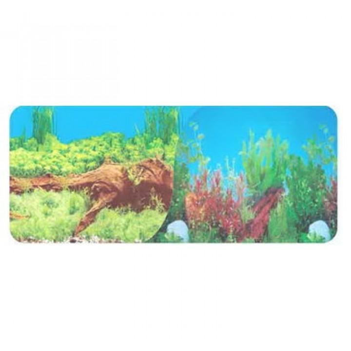Фон 9009 Растения с корягой синий/9021 Растения с корягой голубой 50см