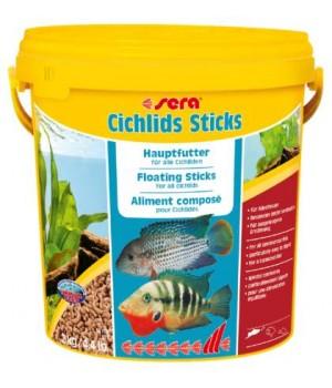 Корм Сера Цихлид Стикс 10л - корм для цихлид и других крупных рыб в виде плавающих палочек