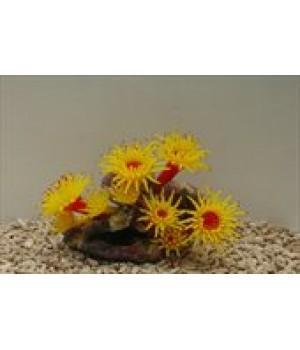 Декор из силикона Коралл жёлтый мягкий 20*12*14 см